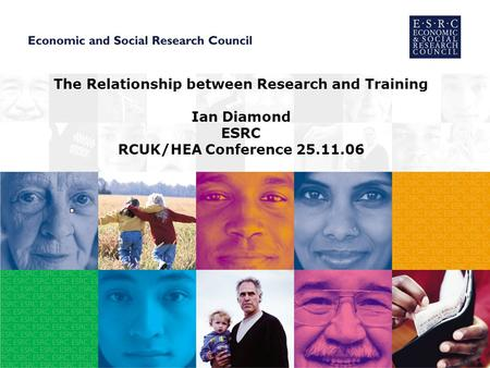 The Relationship between Research and Training Ian Diamond ESRC RCUK/HEA Conference 25.11.06.