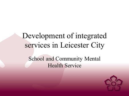Development of integrated services in Leicester City School and Community Mental Health Service.