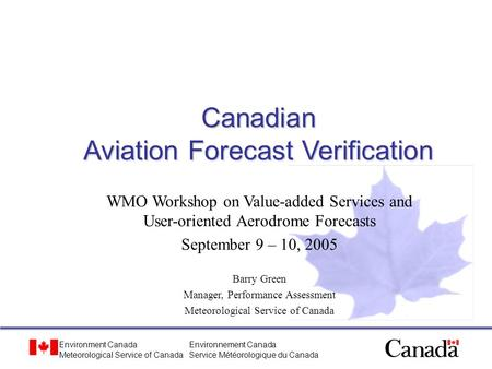 Canadian Aviation Forecast Verification