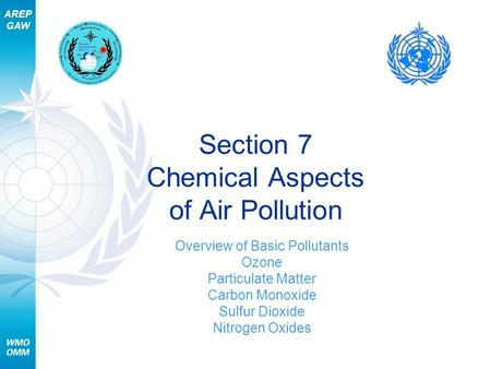 AREP GAW Section 7 Chemical Aspects of Air Pollution Overview of Basic Pollutants Ozone Particulate Matter Carbon Monoxide Sulfur Dioxide Nitrogen Oxides.