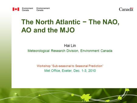 The North Atlantic The NAO, AO and the MJO Hai Lin Meteorological Research Division, Environment Canada Workshop Sub-seasonal to Seasonal Prediction Met.