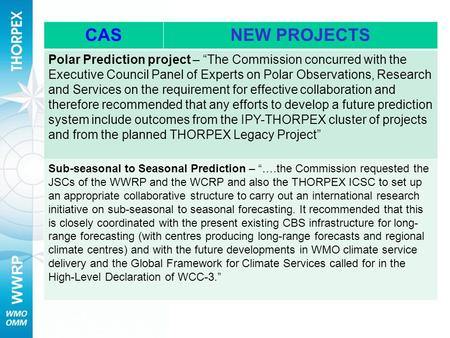 WWRP CASNEW PROJECTS Polar Prediction project – The Commission concurred with the Executive Council Panel of Experts on Polar Observations, Research and.