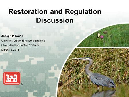US Army Corps of Engineers BUILDING STRONG ® Restoration and Regulation Discussion Joseph P. DaVia US Army Corps of Engineers-Baltimore Chief, Maryland.