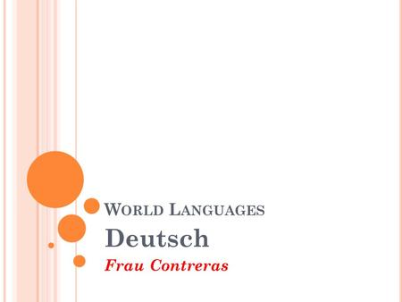 W ORLD L ANGUAGES Deutsch Frau Contreras. Schedule overview (themes): 19 days Week 1: 11/22 & 11/23 Cognates/Where is German spoken? [1 day] German Culture/History.