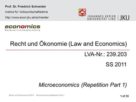 Recht und Ökonomie SS 2011Microeconomics Repetition Part 1 Recht und Ökonomie (Law and Economics) LVA-Nr.: 239.203 SS 2011 Microeconomics (Repetition Part.