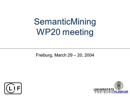 SemanticMining WP20 meeting Freiburg, March 29 – 20, 2004.