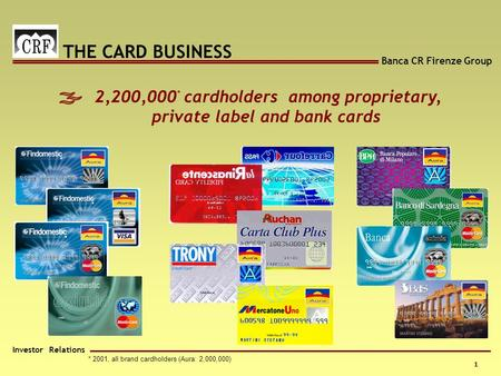 Banca CR Firenze Group Investor Relations 1 - * 2001, all brand cardholders (Aura: 2,000,000) 2,200,000 * cardholders among proprietary, private label.