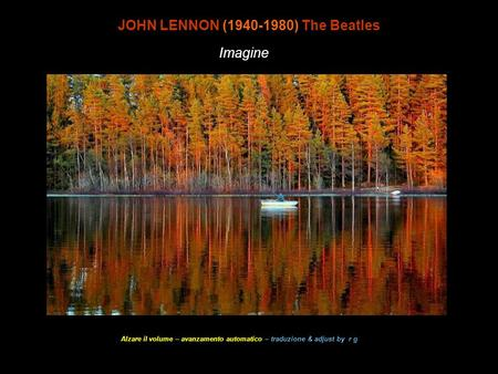 Imagine wave JOHN LENNON (1940-1980) The Beatles Imagine Alzare il volume – avanzamento automatico – traduzione & adjust by r g.