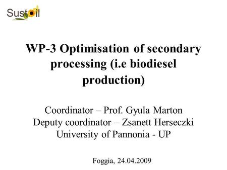 WP-3 Optimisation of secondary processing (i.e biodiesel production) Coordinator – Prof. Gyula Marton Deputy coordinator – Zsanett Herseczki University.