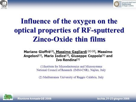 Ischia, 21-23 giugno 2006Riunione Annuale GE 2006 Influence of the oxygen on the optical properties of RF-sputtered Zinco-Oxide thin films (1)Institute.