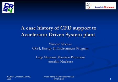 A case history of CFD support to Accelerator Driven System plant