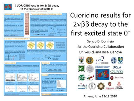 Cuoricino results for 2 decay to the first excited state 0 + Sergio Di Domizio for the Cuoricino Collaboration Università and INFN Genova Athens, June.