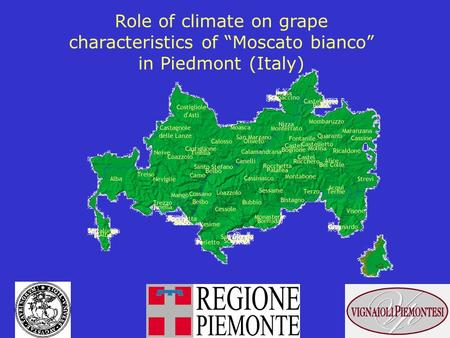 Role of climate on grape characteristics of Moscato bianco in Piedmont (Italy)