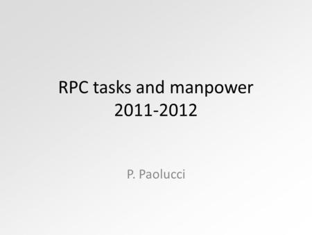 RPC tasks and manpower 2011-2012 P. Paolucci. DPG Not covered tasks 7/12/10RPC IB - Pigi Paolucci2 DPG 2011 (FTE)2012 (FTE) WBM0.70.3Berzano* + ? Offline.