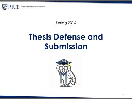Thesis Defense and Submission 1 Spring 2016.  Register for Spring semester  Deadline to submit thesis to GPS: Friday, April 22 nd at NOON  Deadline.