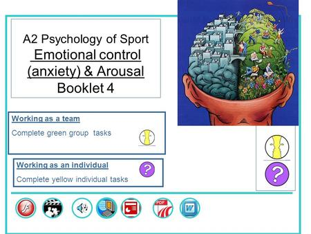 A2 Psychology of Sport Emotional control (anxiety) & Arousal Booklet 4 Skills Working as a team Complete green group tasks Working as an individual Complete.