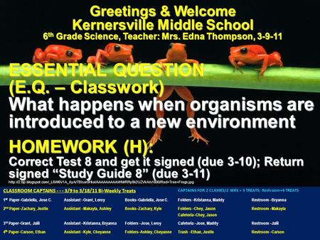 Greetings & Welcome Kernersville Middle School 6 th Grade Science, Teacher: Mrs. Edna Thompson, 3-9-11 ESSENTIAL QUESTION (E.Q. – Classwork) What happens.