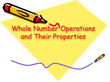 Whole Number Operations and Their Properties. Commutative Property of Addition and Multiplication Addition and Multiplication are commutative: switching.