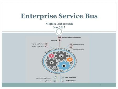 1 Enterprise Service Bus Mojtaba Akbarzadeh Nov 2015.