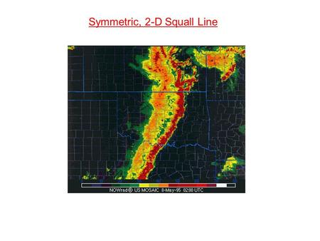 Symmetric, 2-D Squall Line. Tropical Squall Lines: (Zipser, 1977) Frontal Squall Lines: (Carbone, 1982) Severe Mid-Latitude Squall Lines: (Newton, 1963)