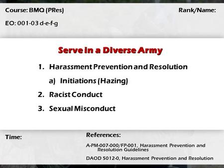 Serve in a Diverse Army Harassment Prevention and Resolution