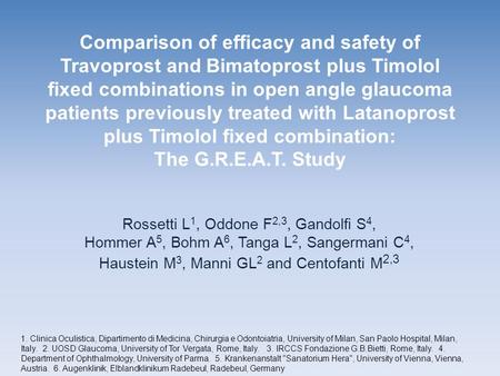 Comparison of efficacy and safety of Travoprost and Bimatoprost plus Timolol fixed combinations in open angle glaucoma patients previously treated with.