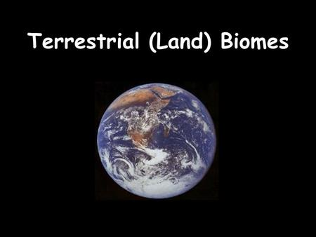 Terrestrial (Land) Biomes. Cornell Notes White – to the left of the line Green – to the right of the line Yellow – don't take Red - review.