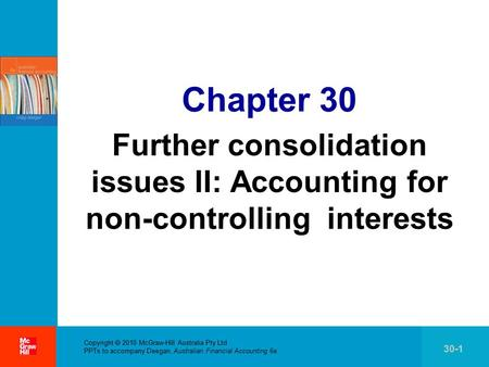 . Copyright  2010 McGraw-Hill Australia Pty Ltd PPTs to accompany Deegan, Australian Financial Accounting 6e 30-1 Chapter 30 Further consolidation issues.