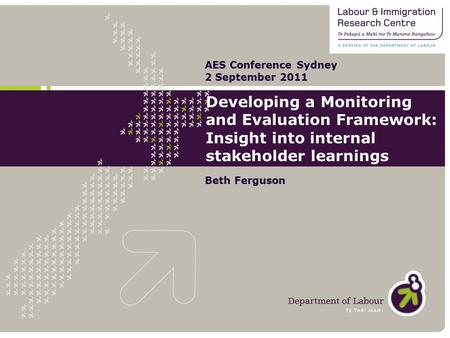 Developing a Monitoring and Evaluation Framework: Insight into internal stakeholder learnings Beth Ferguson AES Conference Sydney 2 September 2011.
