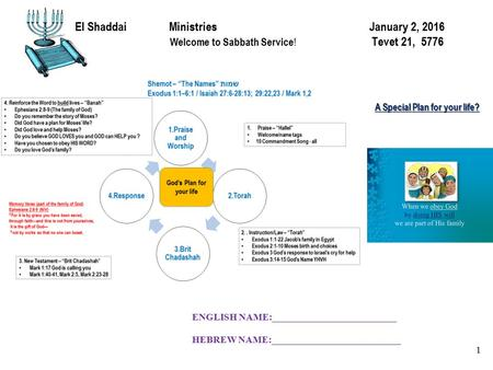 El Shaddai Ministries January 2, 2016 Welcome to Sabbath Service ! Tevet 21, 5776 1 A Special Plan for your life? ENGLISH NAME:__________________________.