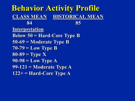 Behavior Activity Profile CLASS MEANHISTORICAL MEAN 84 85 84 85Interpretation Below 50 = Hard-Core Type B 50-69 = Moderate Type B 70-79 = Low Type B 80-89.
