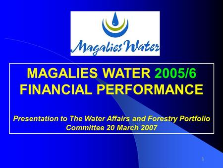 1 MAGALIES WATER 2005/6 FINANCIAL PERFORMANCE Presentation to The Water Affairs and Forestry Portfolio Committee 20 March 2007.