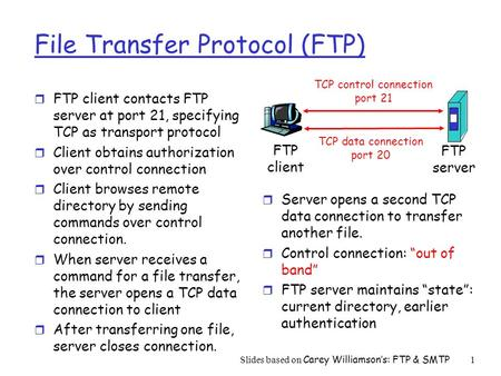Slides based on Carey Williamson's: FTP & SMTP1 File Transfer Protocol (FTP) r FTP client contacts FTP server at port 21, specifying TCP as transport protocol.