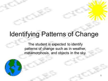 1 Identifying Patterns of Change The student is expected to identify patterns of change such as in weather, metamorphosis, and objects in the sky.