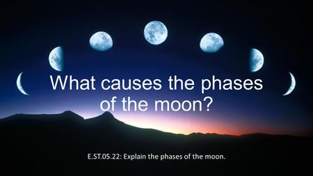 What causes the phases of the moon? E.ST.05.22: Explain the phases of the moon.