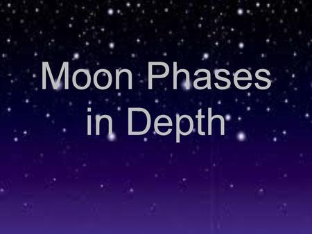 Moon Phases in Depth. Phase 1 - New Moon - The side of the moon that is facing the Earth is not lit up by the sun. At this time the moon is not visible.