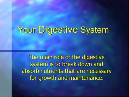 Your Digestive System The main role of the digestive system is to break down and absorb nutrients that are necessary for growth and maintenance.