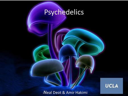 "Psychedelics N eal Deot & Amir Hakimi. Psychedelics Psychedelic comes from the Greek words ""psyche"" (soul) and ""delein"" (to manifest) = soul-manifesting."