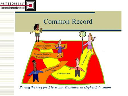 Common Record Paving the Way for Electronic Standards in Higher Education Common Record – COD Common Record – CommonLine Common Record – ISIR Collaboration.