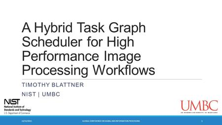 A Hybrid Task Graph Scheduler for High Performance Image Processing Workflows TIMOTHY BLATTNER NIST | UMBC 12/15/2015GLOBAL CONFERENCE ON SIGNAL AND INFORMATION.