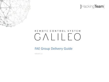 VERSION 1.0 FAE Group Delivery Guide. Remote Control System Delivery The FAE Group Delivery Guide aims to provide a simple and comprehensive list of steps.