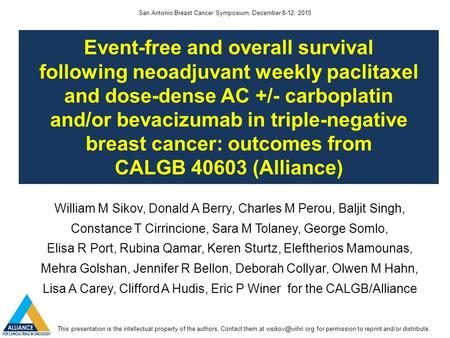 Event-free and overall survival following neoadjuvant weekly paclitaxel and dose-dense AC +/- carboplatin and/or bevacizumab in triple-negative breast.