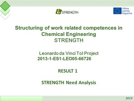 Structuring of work related competences in Chemical Engineering STRENGTH Leonardo da Vinci ToI Project 2013-1-ES1-LEO05-66726 RESULT 1 STRENGTH Need Analysis.