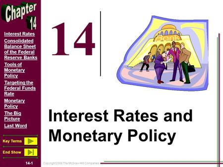 Copyright 2008 The McGraw-Hill Companies 14-1 Interest Rates Consolidated Balance Sheet of the Federal Reserve Banks Tools of Monetary Policy Targeting.