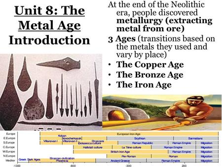 Unit 8: The Metal Age Introduction At the end of the Neolithic era, people discovered metallurgy (extracting metal from ore) 3 Ages (transitions based.