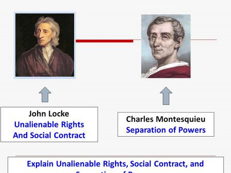 Explain Unalienable Rights, Social Contract, and Separation of Powers John Locke Unalienable Rights And Social Contract Charles Montesquieu Separation.