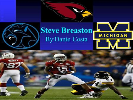 Steve Breaston By:Dante Costa. Steve Breaston  He plays for the Arizona Cardinals.