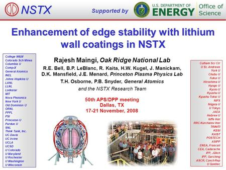 Enhancement of edge stability with lithium wall coatings in NSTX Rajesh Maingi, Oak Ridge National Lab R.E. Bell, B.P. LeBlanc, R. Kaita, H.W. Kugel, J.