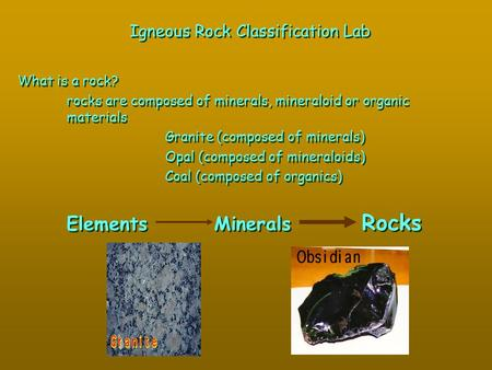 Igneous Rock Classification Lab