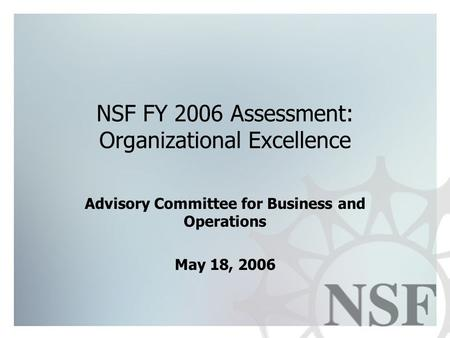 NSF FY 2006 Assessment: Organizational Excellence Advisory Committee for Business and Operations May 18, 2006.